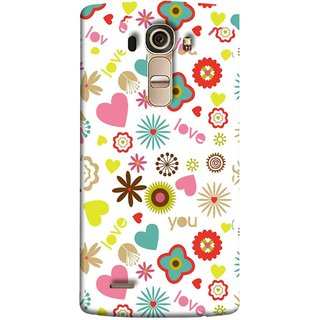 FUSON Designer Back Case Cover for LG G4 :: LG G4 Dual LTE :: LG G4 H818P H818N :: LG G4 H815 H815TR H815T H815P H812 H810  H811  LS991 VS986 US991 (Love You Pink Yellow Hearts Snow Red Flowers Garden )