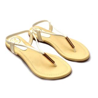 Oh Feet! Women's Beige  White Sandals