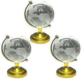 Crystal Globe For success Showpiece - 8 cm (Crystal,) White 3pcs