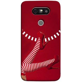 FUSON Designer Back Case Cover for LG G5 ::  LG G5 Dual H860N :: LG G5 Speed H858 H850 VS987 H820 LS992 H830 US992 (High Heel Red And White Socks Beautiful Legs Girl)