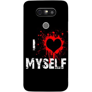 FUSON Designer Back Case Cover for LG G5 ::  LG G5 Dual H860N :: LG G5 Speed H858 H850 VS987 H820 LS992 H830 US992 (I Love Myself Bloody Heart Black Background)