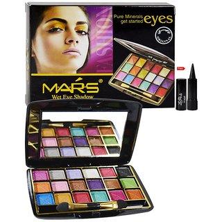 Mars 18 Color Wet Eye Shadow Free Laperla Kajal