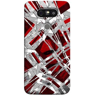 FUSON Designer Back Case Cover for LG G5 ::  LG G5 Dual H860N :: LG G5 Speed H858 H850 VS987 H820 LS992 H830 US992 (White Squares Triangle Red Maroon Artwork )