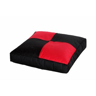 Comfy Bean Bags - Floor Cushion Bean Bag - Size Large - Filled With Beans Filler ( Black Red )