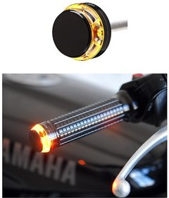 Motorcycle Handlebar Turn Signal Grip Bar End LED Plug Strobe Side Indicator Light For-All Bike  Classic Chrome