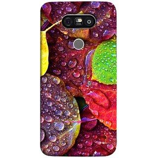 FUSON Designer Back Case Cover for LG G5 ::  LG G5 Dual H860N :: LG G5 Speed H858 H850 VS987 H820 LS992 H830 US992 (Big Leaf Leaves Lotus Raindrops Forest Raining Season)