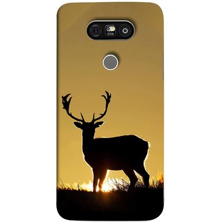 FUSON Designer Back Case Cover for LG G5 ::  LG G5 Dual H860N :: LG G5 Speed H858 H850 VS987 H820 LS992 H830 US992 (Adult Alone Animals Very Big Horns Looking Back)