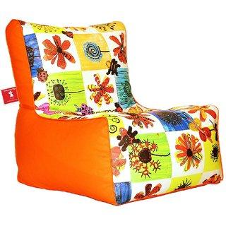 Comfy Bean Bags - Bean Chair Bean Bag - Printed - Size Kids Bean Bag - Filled With Beans Filler ( Orange Flowers )