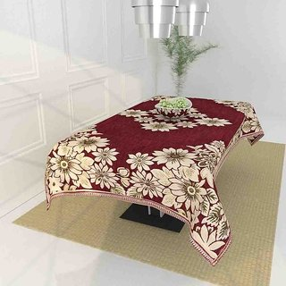 The Intellect Bazaar Floral 450 TC Chenille  4 Seater Table Cover,Maroon