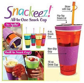 Savvy Traders Snackeez Travel Cup Snack Drink in One Container -Multicolored