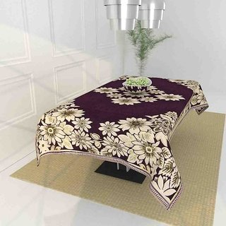 The Intellect Bazaar Floral 450 TC Chenille  4 Seater Table Cover,Purple