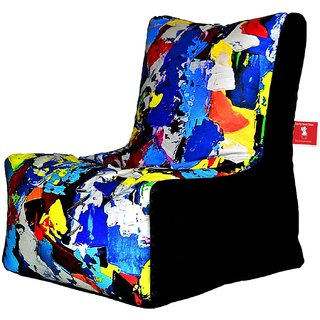 Comfy Bean Bags - Bean Chair Bean Bag - Printed - Size Kids Bean Bag - Filled With Beans Filler ( Abstract Color Patches )