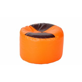 Comfy Bean Bags - Corner Puffy Bean Bag - Size Large - Filled With Beans Filler ( Orange Maroon )