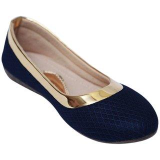 VIREN Women's Gold  Blue Synthetic Stylish, Party Wear Bellies (4-9 UK)