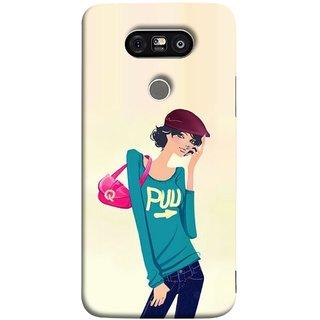 FUSON Designer Back Case Cover for LG G5 ::  LG G5 Dual H860N :: LG G5 Speed H858 H850 VS987 H820 LS992 H830 US992 (Morden Lady Tshirt Jeans Cap Beautiful Girly)