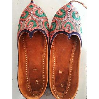 Wedding  Sherwani Mojari's (Jutti) Bhinmal Juti Mojdi Shoes for Men ETHNIC Rajasthani-Fashion Handmade Tan Leather Squa