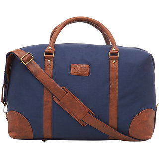 9697c3a3e1 Buy Leather World 46.2 Liter Blue Canvas PU Leather Designer Duffle Travel  Bag with Zip Closure Online - Get 53% Off