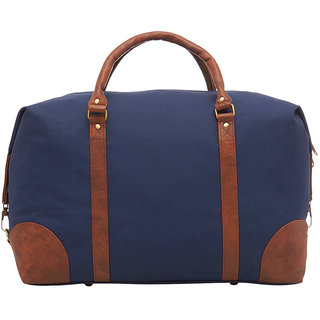 4ec5e148a6b Leather World 46.2 Liter Blue Canvas PU Leather Designer Duffle Travel Bag  with Zip Closure