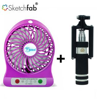 shopeleven Combo of Rechargeable Battery USB Mini Fan + Selfie Stick mini with Aux cable