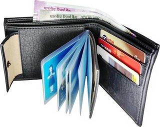 Wildantler Boys Black Artificial Leather Wallet  (8 Card Slots)