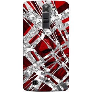 FUSON Designer Back Case Cover for LG K10 :: LG K10 Dual SIM ::  LG K10  K420N K430DS K430DSF K430DSY  (White Squares Triangle Red Maroon Artwork )