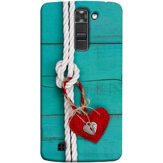 FUSON Designer Back Case Cover for LG K10 :: LG K10 Dual SIM ::  LG K10  K420N K430DS K430DSF K430DSY  (Heart Shape Rope Stuffed Toy Text Tied Knot Vintage)