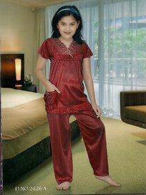 Kids Sleepwear 2pc Top  Pajama Pant New 2626 Night Set Daily  Maroon Girls  Lounge Wear