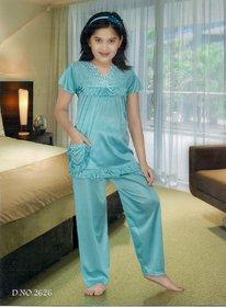 Kids Sleepwear 2pc Top  Pajama Pant New 2626 Night Set Daily  Blue Girls  Lounge Wear