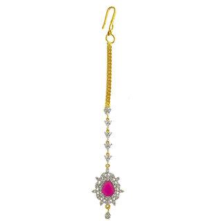 Anuradha Art Pink Colour Wonderful Designer Classy Studded American Diamonds Stone Mang Tikka/Matha Patti For Women/Girls