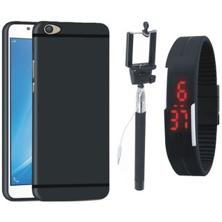 Oppo A57 Soft Silicon Slim Fit Back Cover with Selfie Stick and Digtal Watch