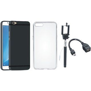 Oppo A57 Silicon Anti Slip Back Cover with Silicon Back Cover, Selfie Stick and OTG Cable