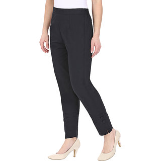 Black Cotton Pants for Women