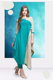 Designer Cotton 3 Piece Kurta with Straight Pant