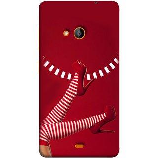FUSON Designer Back Case Cover for Microsoft Lumia 535 :: Microsoft Lumia 535 Dual SIM :: Nokia Lumia 535 (High Heel Red And White Socks Beautiful Legs Girl)