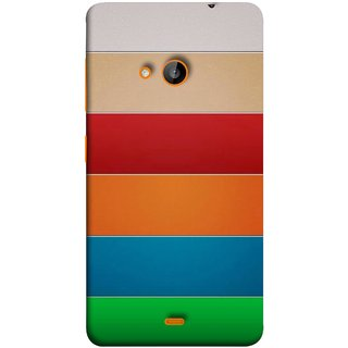 FUSON Designer Back Case Cover for Microsoft Lumia 535 :: Microsoft Lumia 535 Dual SIM :: Nokia Lumia 535 (Rainbow Colours Bright Bands Red Orange Blue)