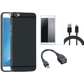 Motorola Moto C Plus Ultra Slim Back Cover with Tempered Glass, OTG Cable and USB Cable