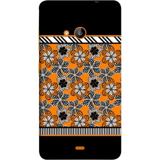 FUSON Designer Back Case Cover for Microsoft Lumia 540 Dual SIM (White Gray Yellow White Black Flowers Unstitched)