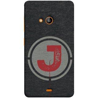 FUSON Designer Back Case Cover for Microsoft Lumia 540 Dual SIM (Dark Alphabet Circle Vintage Grey Circle Pattern J)