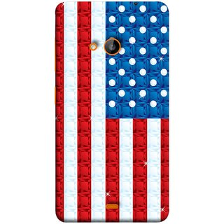 FUSON Designer Back Case Cover for Microsoft Lumia 540 Dual SIM (United Stated Of America Flag Embroidered Stars)