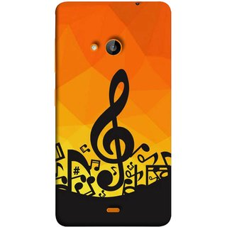 FUSON Designer Back Case Cover for Microsoft Lumia 540 Dual SIM (Disco Inferno Abstract Background With Musical Notes)