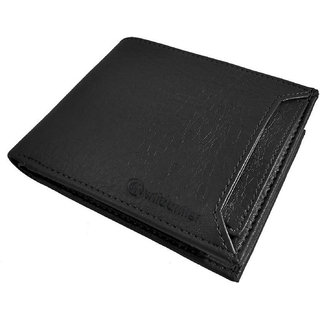 WildantlerMen Black Artificial Leather Wallet (7 Card Slots)