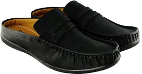Blinder Men's Pure Black Back Open Casual Slip On Loafe