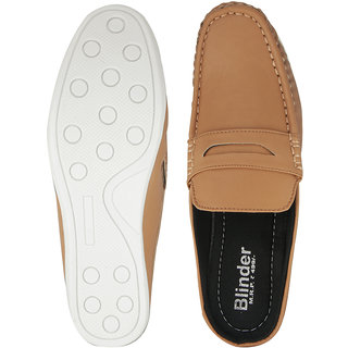 Blinder Men's Tan Back Open Casual Slip On Loafer Mocassion Shoes