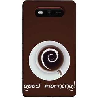 FUSON Designer Back Case Cover for Nokia Lumia 820 (Good Morning Afternoon Evening Coffee Tea Cream )