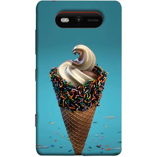 FUSON Designer Back Case Cover for Nokia Lumia 820 (Pinky Frosted Sprinkled Waffle Cone Crispy Coffee Flavour)