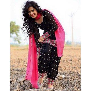 Shree Rajlaxmi Sarees Embroidered Pink And Black Patiala Suit