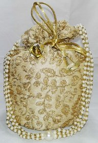 Golden Designer Embroidered Silk Potli Bag Pearl Handle