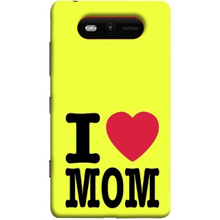 FUSON Designer Back Case Cover for Nokia Lumia 820 (Yellow Background Mother Hearts Pure And True Love)