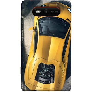 FUSON Designer Back Case Cover for Nokia Lumia 820 (Yellow 918 Spyder Top View Expensive Cars)