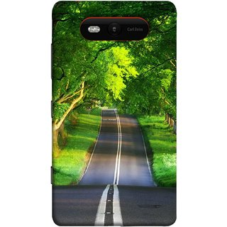 FUSON Designer Back Case Cover for Nokia Lumia 820 (Road Surrounded By Mountains Beautiful Old Trees )